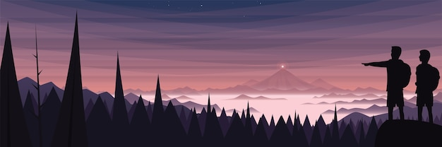 Misty mountain landscape panoramic