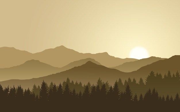 Misty mountain range with pine forest