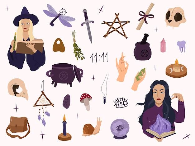 마법의 디자인 요소, 마법 크리스탈, 해골, 칼이 있는 미스틱 마녀 컬렉션. 벡터 손으로 그린 만화 그림입니다. 모든 elemenets 흰색 배경에 고립입니다.