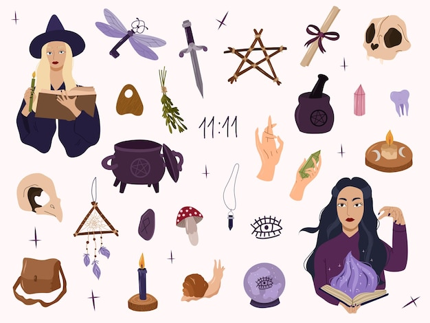 Mistyc witch collection with magic design elements,witchcraft crystal, skull, knife. vector hand drawn cartoon illustration. all elemenets isolated on white background.