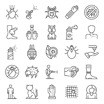 Mite icons set, outline style