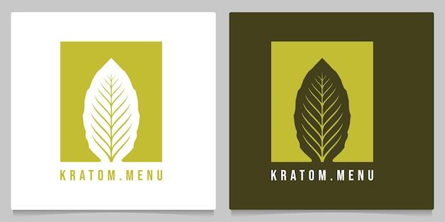 Mitragyna speciosa kratom лист негативное пространство дизайн логотипа иллюстрация