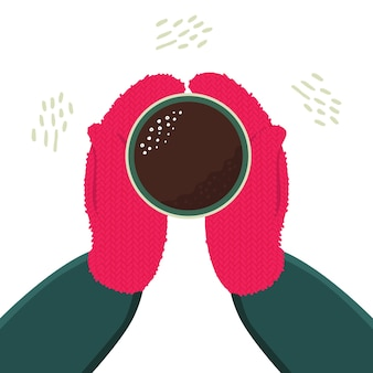 Mittened hands hold a cup of hot tea or coffee. winter cozy illustration for postcards, posters.