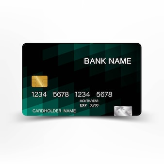Mix black and green color credit card design.