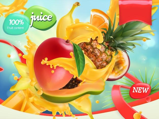 Смешайте фрукты. всплеск сока. манго, банан, ананас, папайя. реалистичный, дизайн упаковки
