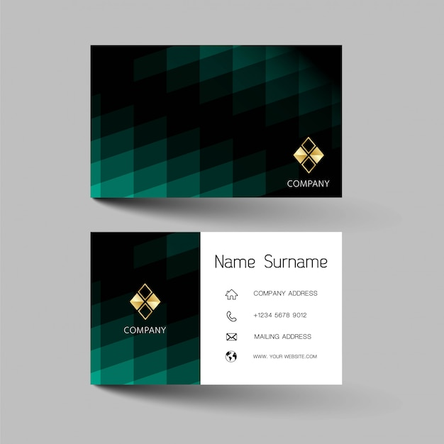Mix green with black color business card design
