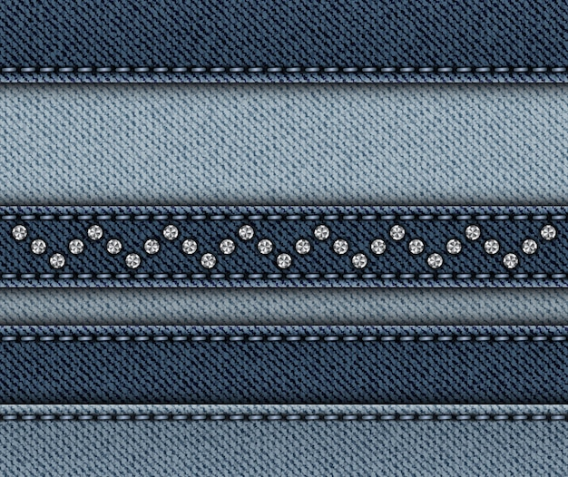 Mix of horizontal denim stripes Premium Vector