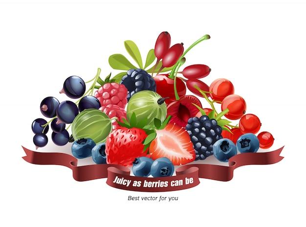 Смешение свежих ягод, изолированных на белом фоне