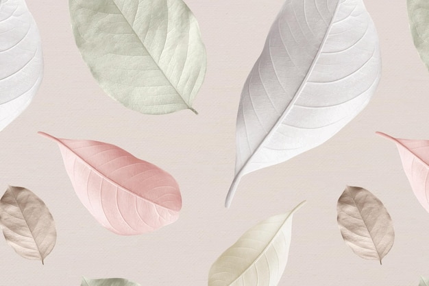 Mix of pastel leaves design resource