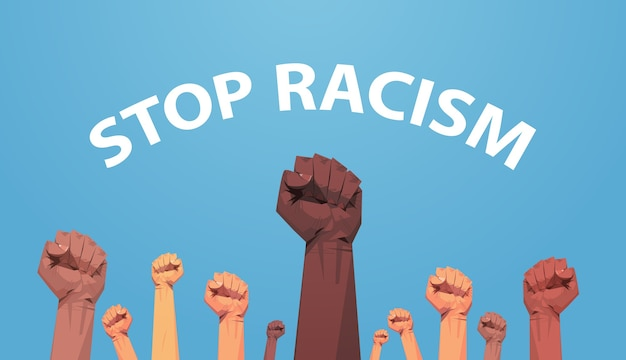 Mix race activists holding raised up fists poster against racism and discrimination racial equality social justice