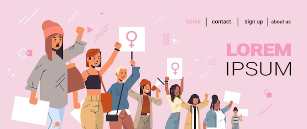 Mix race activists protesting holding placards with female gender sign feminist demonstration girl power movement rights protection women empowerment concept portrait horizontal copy space