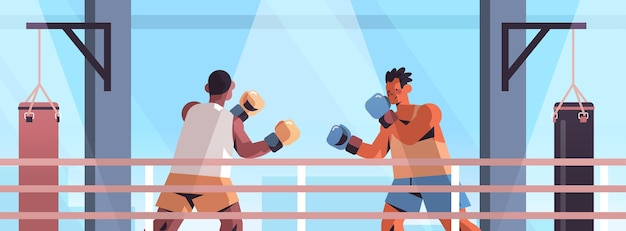 Mix race boxers fighting on boxing ring dangerous sport competition training concept modern fight club interior  portrait