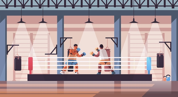 Mix race boxers fighting on boxing ring dangerous sport competition training concept modern fight club interior