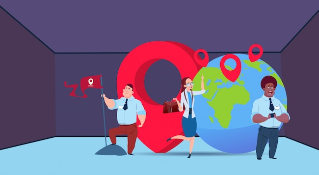 Mix race businessman working together business people with geolocation flag globe