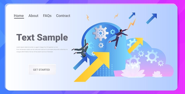 Mix race businesspeople brainstorming on growing arrows successful path startup new creative idea career growth concept horizontal full length copy space  illustration