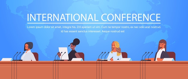 Mix race businesspeople giving speech at tribune with microphone on corporate international conference world map background copy space    illustration