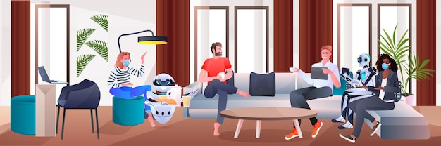 Mix race businesspeople in masks and robots discussing during meeting in office partnership teamwork artificial intelligence technology concept full length horizontal