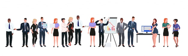Mix race businesspeople standing together diverse business people office workers group international team corporate meeting full length flat horizontal banner
