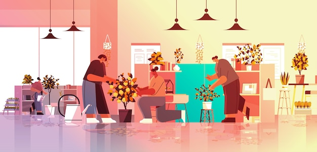 Mix race businesspeople taking care of potted plants in office gardening concept horizontal full length vector illustration