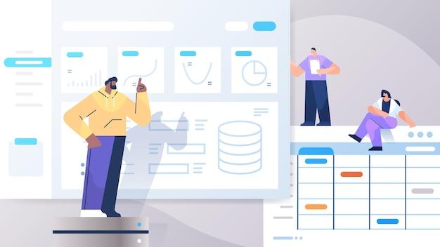Смешанная гонка команда бизнесменов анализирует диаграммы и графики анализ данных планирование стратегии компании концепция совместной работы полная длина горизонтальная векторная иллюстрация