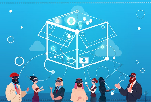 Mix race businesss people group wear digital reality glasses brainstorming remote workers concept