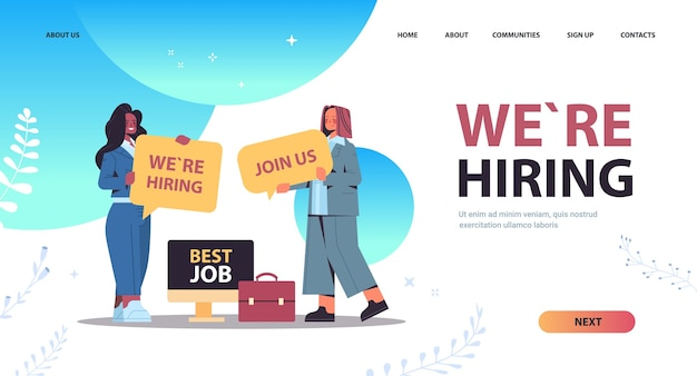 Mix race businesswomen hr managers holding we are hiring join us posters hr vacancy open recruitment human resources concept full length horizontal copy space vector illustration