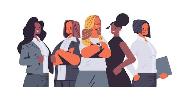 女性のチームの概念成功したビジネスの人々のグループの孤立したイラスト
