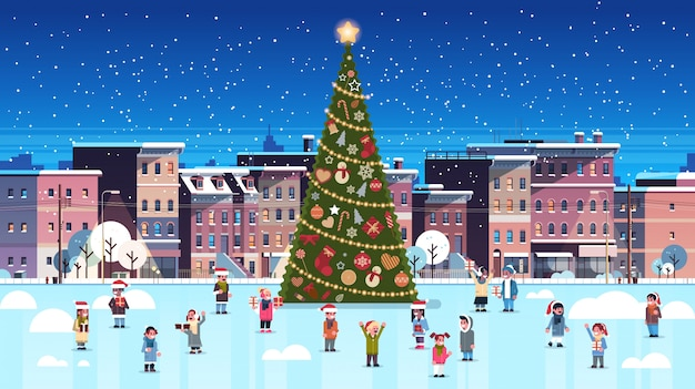 Mix race children group near decorated fir tree city building houses