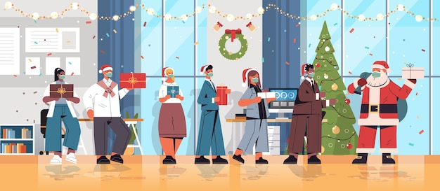 新年とクリスマスの休日を祝うギフトの同僚を保持しているマスクでサンタクロースとレースの同僚をミックスオフィスインテリア水平全長ベクトルイラスト Premiumベクター