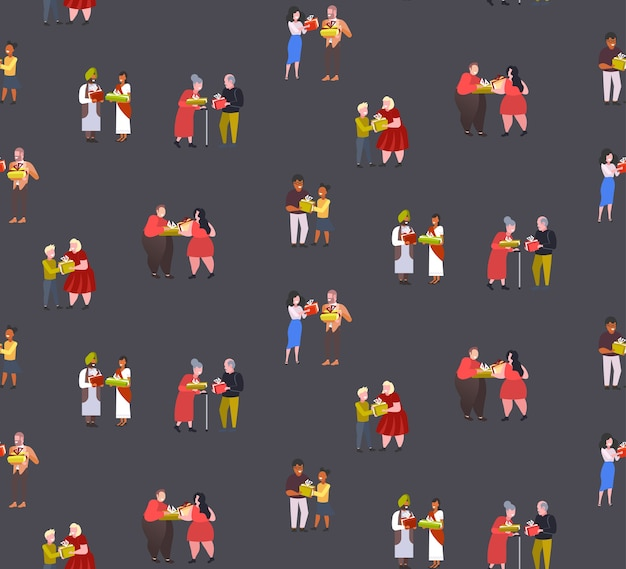 Mix race couples giving gift present boxes to each other  seamless pattern