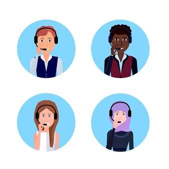 Mix race diverse call center headset agent