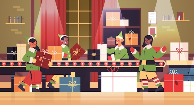 Mix race elves putting gifts on machinery line conveyor happy new year christmas holidays celebration concept santa claus workshop interior horizontal full length vector illustration