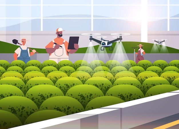 Mix race farmers controlling agricultural drones sprayers quad copters flying to spray chemical fertilizers in greenhouse smart farming innovation technology