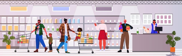 Mix race fathers and children buying groceries in supermarket fatherhood parenting shopping concept grocery shop interior horizontal