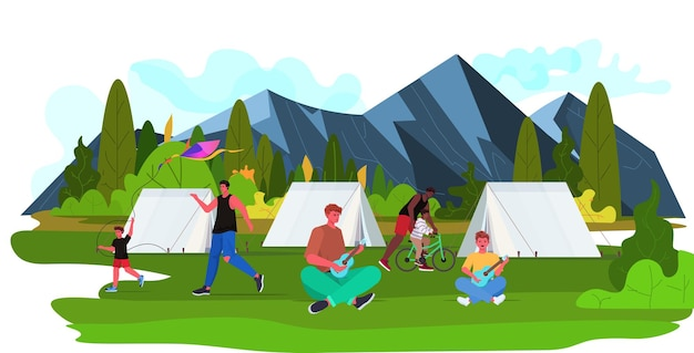 Mix race fathers spending time with children on camping trip parenting fatherhood concept landscape background full length horizontal