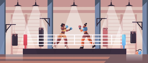 권투 링 위험한 스포츠 경쟁 훈련 개념 현대 싸움 클럽 인테리어에 싸우는 혼합 인종 여성 권투 선수