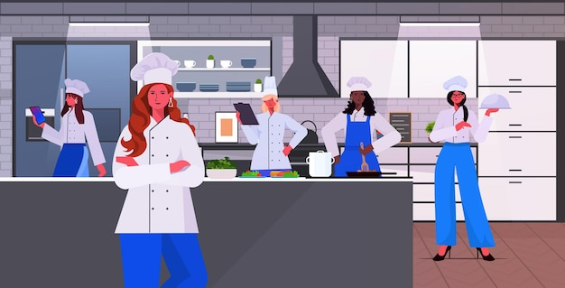 食品業界のコンセプトレストランキッチンインテリア水平ベクトルイラストを一緒に調理する制服の女性シェフでレースの女性料理人をミックス