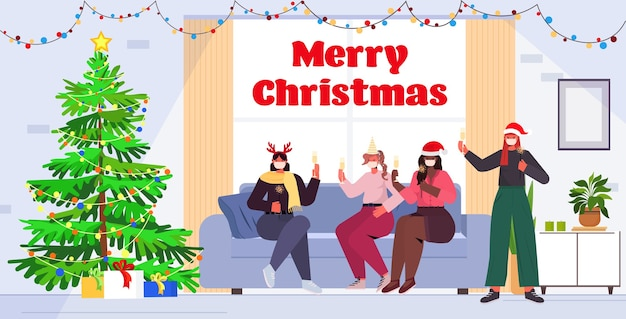Mix race female friends in santa hats and masks drinking champagne new year christmas holidays celebration concept living room interior  full length lettering greeting   illustrati