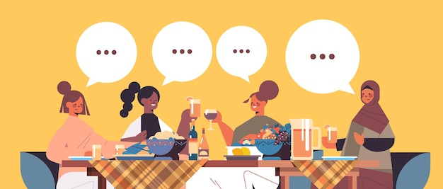 Mix race female friends sitting at table discussing during dinner in women's club chat bubble communication girls supporting each other horizontal portrait vector illustration
