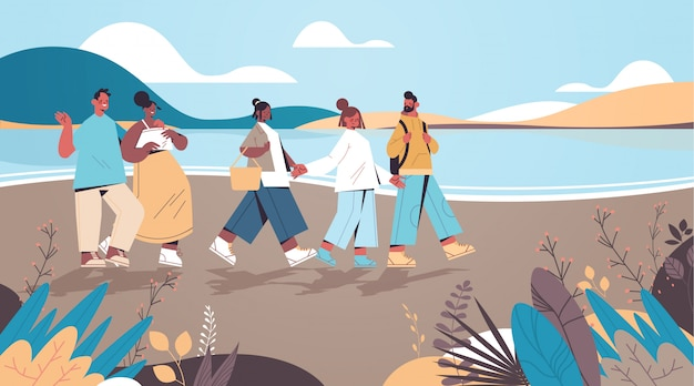 Mix race friends walking near river digital detox vacation travel adventure concept