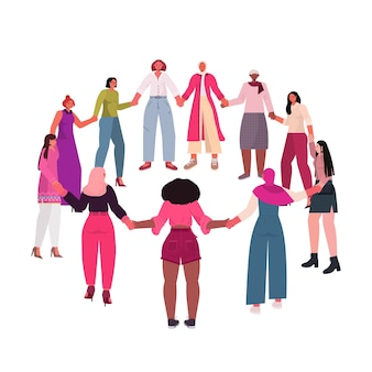 Mix race girls holding hands standing together female empowerment movement women power concept  isolated