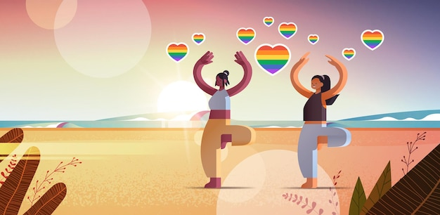 Mix race girls lovers doing physical exercises beach lesbian love parade transgender lgbt concept sunset seascape background horizontal full length vector illustration