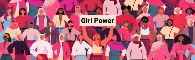 Mix race girls standing together female empowerment movement women's power union of feminists concept horizontal portrait vector illustration