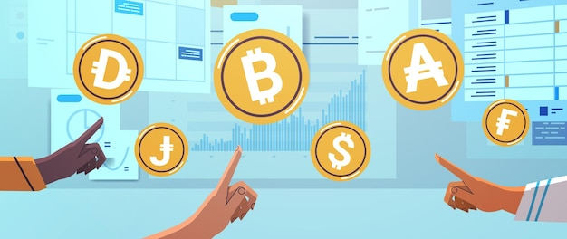 Mix race human hands touching golden coins cryptocurrency concept
