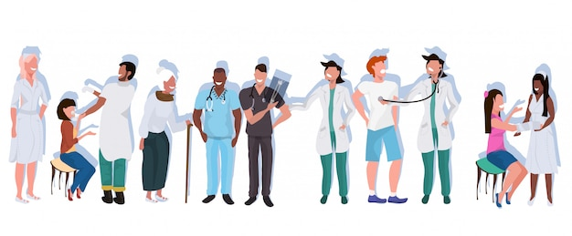 Mix race medical doctors with patients standing together hospital workers in uniform professional occupation healthcare medicine concept full length flat horizontal
