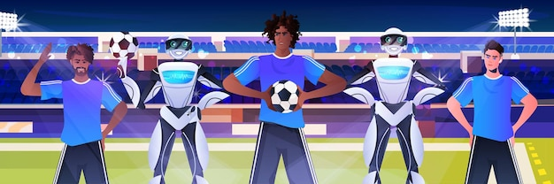 Смешать расу мужчин и роботов футболистов с футбольными мячами стоя на стадионе концепция технологии искусственного интеллекта портрет горизонтальный