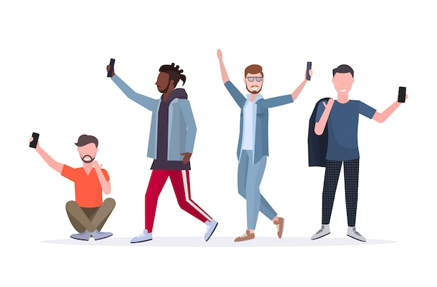 Mix race men taking selfie photo on smartphone camera casual male cartoon character standing together in different poses white background  full length horizontal