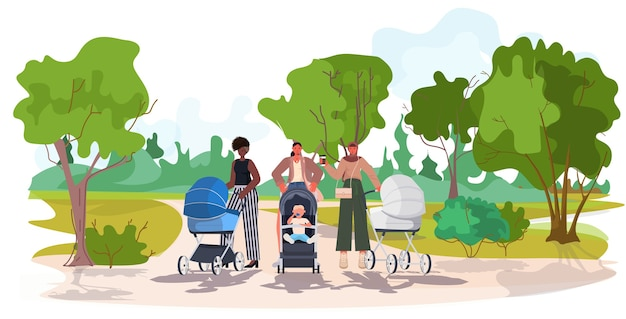 Mix race mothers walking with newborn babies in strollers motherhood concept urban park landscape background