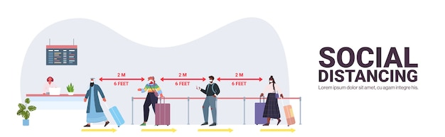 Mix race passengers in protective masks standing at check-in counter keeping distance to prevent coronavirus social distancing concept airport terminal interior horizontal copy space vector illustrati