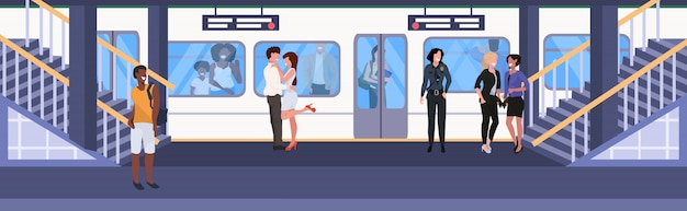 Mix race passengers at subway railway underground station men women standing on platform waiting train city transport concept flat horizontal full length vector illustration